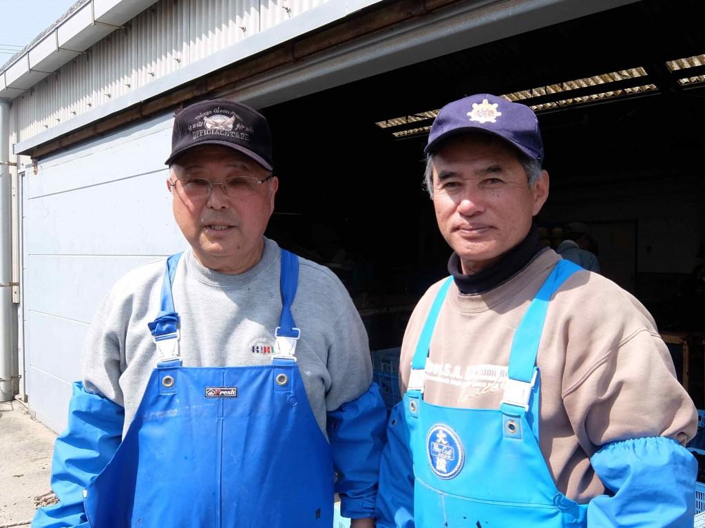 今日、教えてくださったのは、ベテラン漁師の坂本勇喜さん(左)と中島利幸さん(右)。どうもありがとうございました!