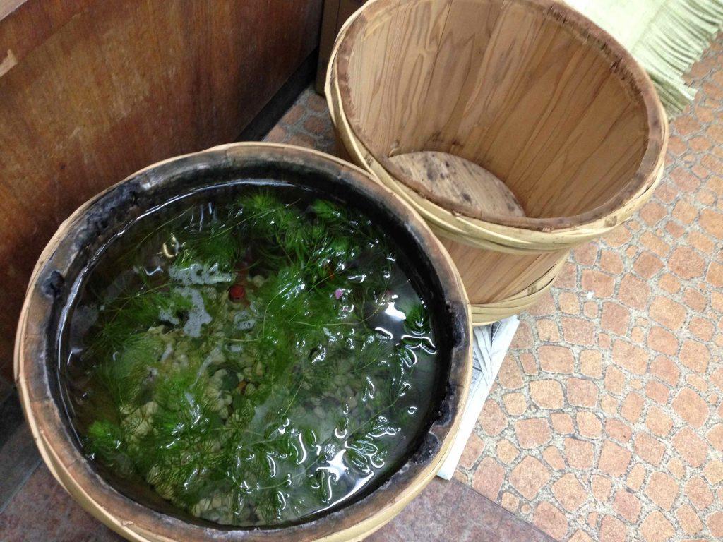 店の片隅には、樽を使った金魚鉢が。