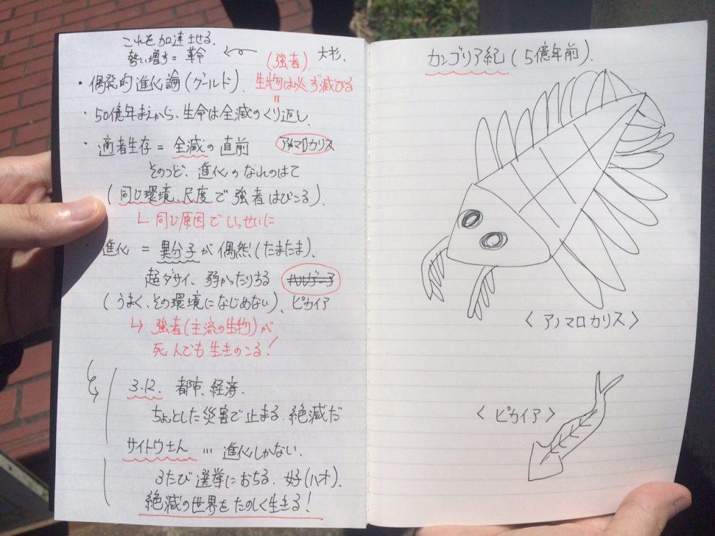 図鑑を見て書き写したというカンブリア紀の生き物。左のページには、今回のイベント用にまとめられた手描きのメモ。